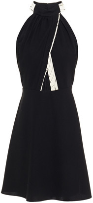 Victoria Victoria Beckham Cutout Tie-neck Printed Crepe Mini Dress