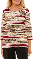 Alfred Dunner 3/4 Sleeve Crew Neck Pattern T-Shirt-Womens