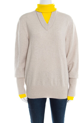 Joseph Beige and Yellow Faux Layered V+High Neck Wool Blend Sweater M