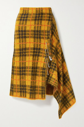 Monse Asymmetric Embellished Checked Knitted Skirt - Mustard