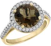 PIERA 14K Yellow Gold Natural Smoky Topaz Ring Round 8mm Diamond Halo, size 10