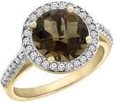 PIERA 14K Yellow Gold Natural Smoky Topaz Ring Round 8mm Diamond Halo, size 8