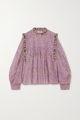 Etoile Isabel Marant Vega Pintucked Floral-print Cotton-voile Blouse - Lilac