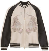 Stella McCartney Lorinda Embroidered Faille Bomber Jacket - Ecru