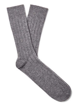 Melange Home William Lockie Ribbed Cashmere-Blend Socks