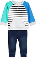 First Impressions 2-Pc. Sweatshirt & Denim Jogger Pants Set, Baby Boys (0-24 months), Only at Macy's