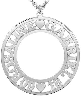 FINE JEWELRY Personalized Couples Name and Date 28mm Circle Pendant Necklace
