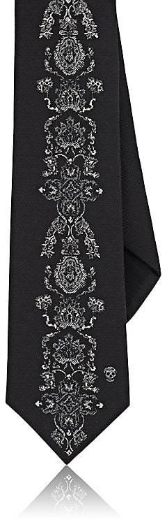 Alexander McQueen Men's Floral Silk Faille Necktie