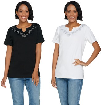 Quacker Factory Set of 2 Floral Rhinestone Split V-Neck Knit T-shirts