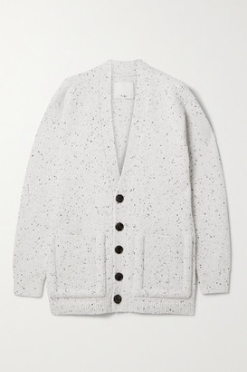 Tibi Faux Leather-trimmed Wool-blend Cardigan - White