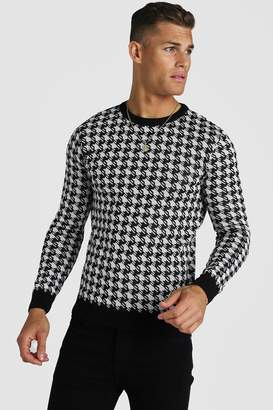 BoohoomanBoohooMAN Mens Black Muscle Fit Houndstooth Knitted Jumper, Black