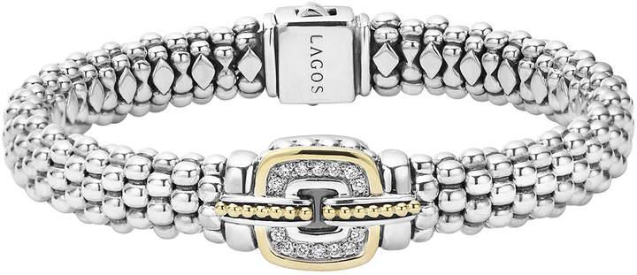 Lagos Pave Diamond Cushion Rope Bracelet, 9mm