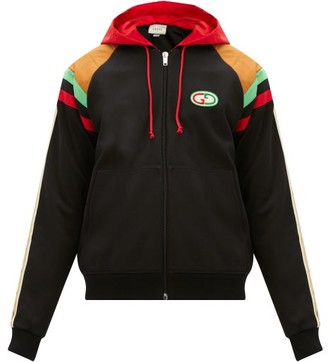 Gucci GG-patch Web-stripe Hooded Bomber Jacket - Black Multi