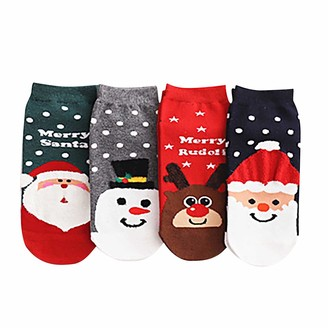 jieGorge Adult Christmas Print Elk Elder Cotton Short Socks Stockings 4 Pairs