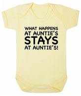 FLOSO Baby Girls/Boys What Happens At Aunties Stays At Aunties Short Sleeve Bodysuit (0-3 Months)