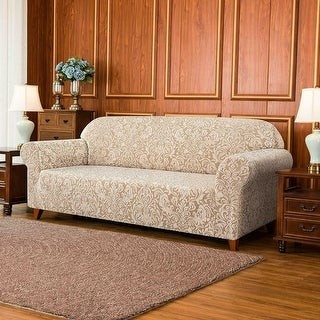 Overstock Subrtex 1-Piece Couch Loveseat Slipcover Jacquard Damask Stretch Cover