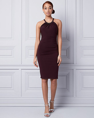 Le Château Knit Halter Ruched Dress