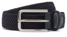 HUGO BOSS Woven Belt With Polished Metal Hardware - Dark Grey