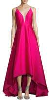 Aidan Mattox Sleeveless High-Low Taffeta Gown, Fuchsia