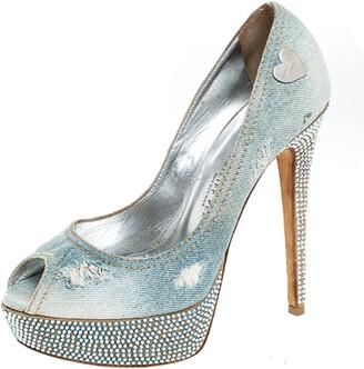 Philipp Plein Phillip Plein Blue Crystal Embellished Distressed Denim Peep Toe Platform Pumps Size 39
