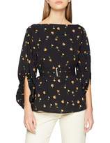 Lost Ink Women's Blouse with Cowl Back in Ditsy Print Multi Black 0004 (Size:14/L)