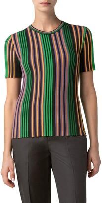 Akris Punto Multicolor Stripe Knit Top