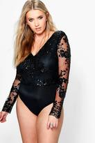 Boohoo Plus Paige Sequin Mesh Bodysuit
