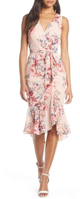 Eliza J Floral Ruched Chiffon Faux Wrap Dress (Petite)