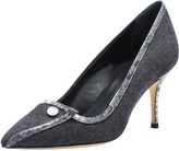 Manolo Blahnik Margine Snake-Trim Flannel Pump
