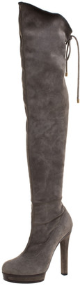 Gucci Grey Suede Platform Over the Knee Boots Size 37.5