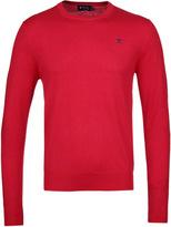 Hackett Bright Red Silk Cashmere Cotton Crew Neck Sweater