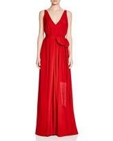 Paule Ka V-Neck Belted Gown