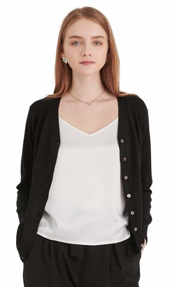 LilySilk Silk Cashmere Cardigan Essential V Neck Lightweight with Buttons Sweaters Long Sleeve Knit Outerwear Black Size 16/L