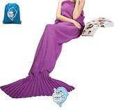 """LAGHCAT Mermaid Tail Blanket Knit Crochet and Mermaid Blanket for Adult, All Seasons Sleeping Blankets (71""""x35.5"""", Violet)"""