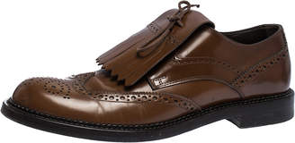 Tod's Brown Leather Fringe Lace Bow Brogue Derby Size 42.5
