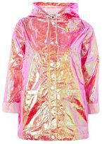 Topshop Two-tone metallic mac raincoat