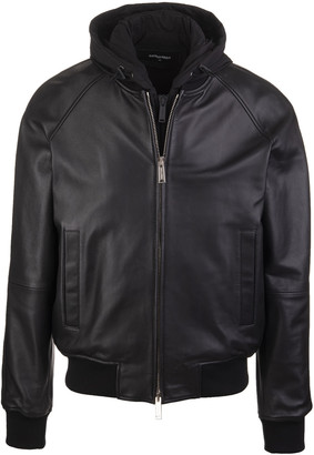 DSQUARED2 Double Layer Man Bomber Jacket Black Leather And Cotton