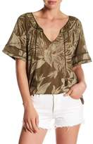 Lucky Brand Tropical Leaves Linen Blend Peasant Blouse