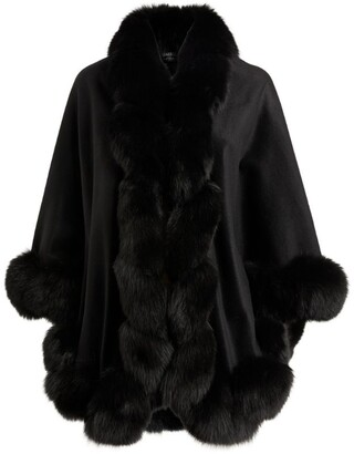 Harrods Cashmere Fox Fur-Trim Cape