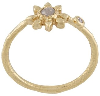 9kt Yellow Gold Diamond Flower Ring