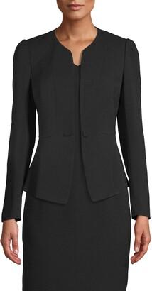 Anne Klein Crepe Peplum Jacket