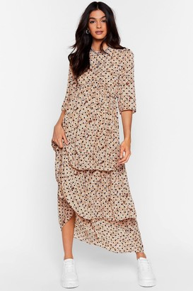 Nasty Gal Womens Call the Spots Tiered Maxi Dress - Cream