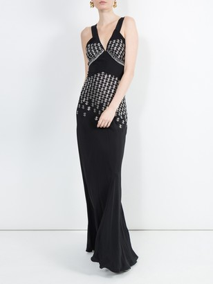 Black Embellished Silk-blend Gown