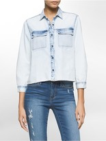 Calvin Klein Bleached Denim High-Low Shirt