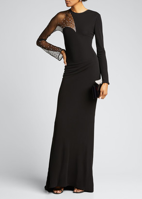 CDGNY Scattered-Crystal Illusion Jersey Long-Sleeve Gown