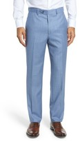 Santorelli Men's Flat Front Solid Wool Trousers