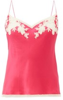 Carine Gilson Lace-trimmed Silk Cami Top - Womens - Pink Multi