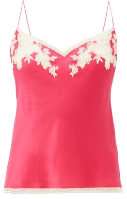 Carine Gilson Lace Trimmed Silk Cami Top - Womens - Pink Multi