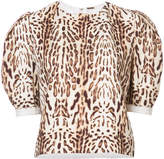 ADAM by Adam Lippes Ocelot printed top with puff sleeves