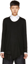 Y's Ys Black Long Sleeve Ruffle T-shirt